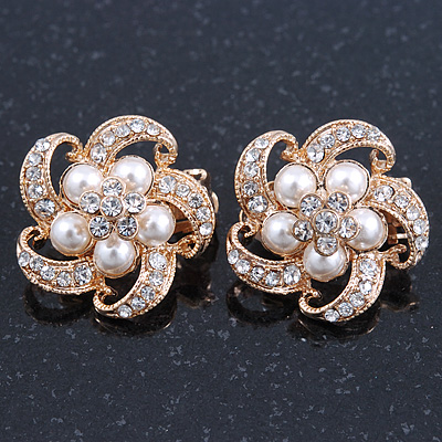 Diamante, Pearl 'Flower' Clip-On Earrings In Gold Plating - 23mm Width