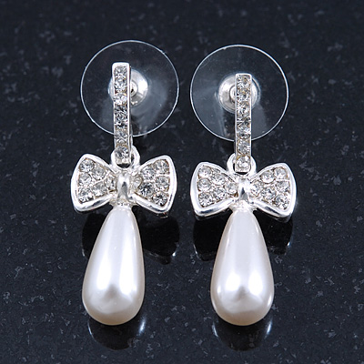 Delicate Teen Crystal, Pearl 'Bow' Stud Earrings In Rhodium Plating - 3cm Length