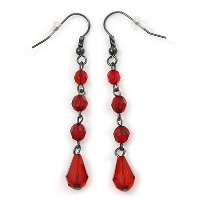 Red Acrylic Bead Drop Earrings In Gun Metal - 6cm Length