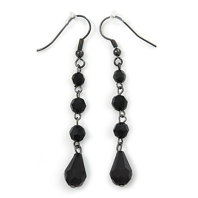 Black Acrylic Bead Drop Earrings In Gun Metal - 6cm Length