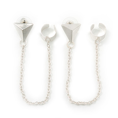 Two Piece Triangular Stud & Chain Ear Cuff In Silver Plating [E02381]
