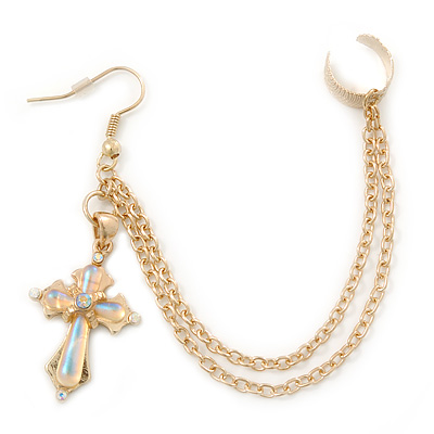 One Piece Cross & Chain Ear Cuff In Gold Plating [E02395]