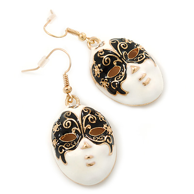 Black&amp;White Enamel &#039;Theatrical Mask&#039; Drop Earrings In Gold Plating - 4.5cm Length