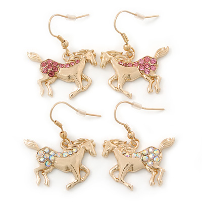 Gold Plated AB & Pink Crystal 'Horse' Earrings - 2 Pc Set - 35mm Length