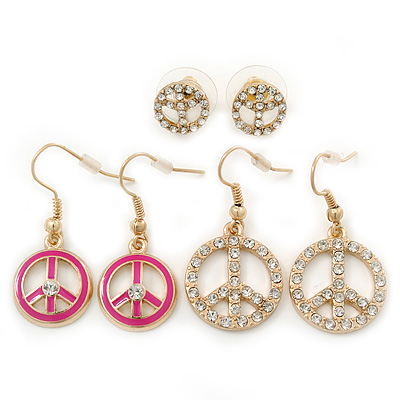 3 Pairs Clear Crystal Fuchsia Peace Earring Set In Gold Plating - 10mm, 32mm, 35mm Length