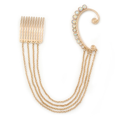 1 Pc AB Crystal Ear Cuff With Comb In Gold Plating - Only For The Right Ear