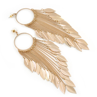 Long Chain With Leaf Hoop Earrings In Gold Plating - 15.5cm Length