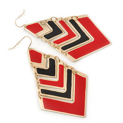 Black&amp;Red Enamel Geometric Drop Earrings In Gold Plating - 8.5cm Drop