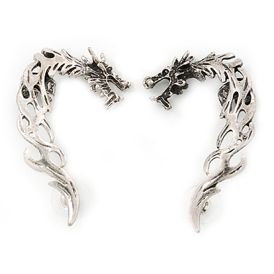 Pair of Antique Silver Whispering Dragons Ear Cuffs - 5cm Length