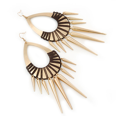 Oversized Spike Oval Hoop Earrings With Brown Cotton Cord In Gold Plating - 13cm Length [E02422]