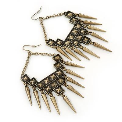 Oversized Vintage Spike Hammered Drop Earrings In Bronze Tone - 10cm Length