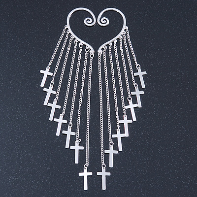 One Pair Long Cross Chain Drop Ear Hook Cuff Earring In Silver Tone - 15cm Length