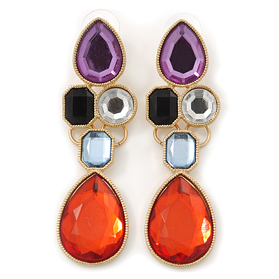Multicoloured Glass Stone Linear Drop Earrings In Gold Plating - 73mm Length - main view