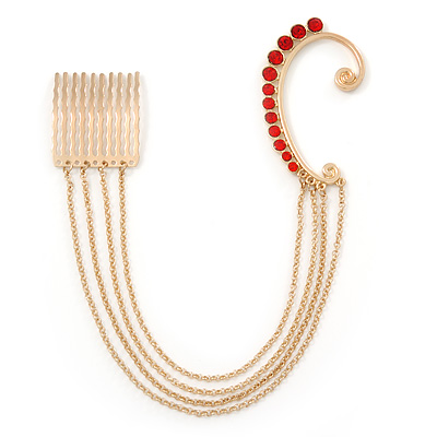 1 Pc Red Crystal Ear Cuff With Comb In Gold Plating - Only For The Right Ear - main view