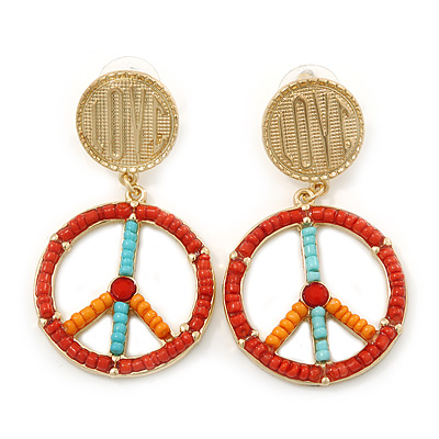 Multicoloured Bead 'Peace & Love' Drop Earrings In Gold Plating - 6cm Length [E02452]