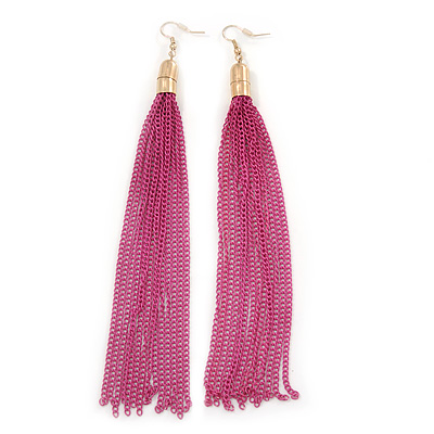 Long Fuchsia Chain Tassel Earrings In Gold Plating - 17cm Length [E02453]