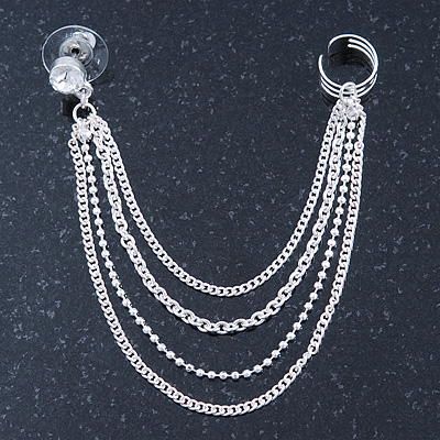 One Piece Clear Crystal Stud & Chain Ear Cuff In Silver Plating
