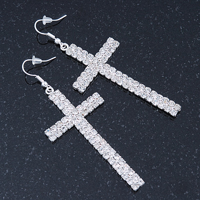 Large Pave Set Crystal 'Cross' Drop Earrings In Rhodium Plating - 8cm Length