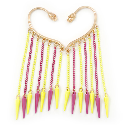One Pair Dangle Neon PInk/ Neon Yellow Spike Hook Cuff Earring In Gold Plating - 6.5cm Length [E02469]