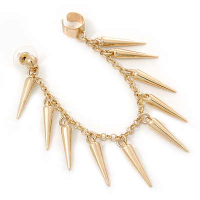 Hanging Spiked Cuff Earring In Gold Plating