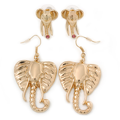 Gold Plated Elephant Earrings - 2 Pc Set - 55cm/ 22mm Length