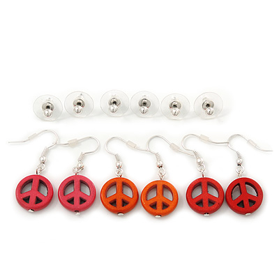 6 Pairs Silver Tone Stud & Peace Drop Earring set - 3mm/ 35mm Length