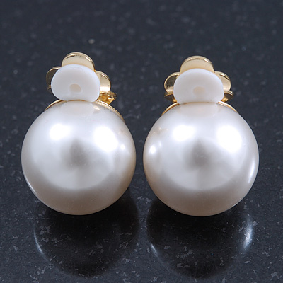 Classic White Faux Pearl Clip-on Earrings In Gold Plating - 15mm Diameter