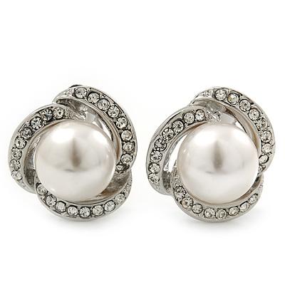 Bridal Diamante White Glass Peal Clip On Earrings In Rhodium Plating - 23mm Diameter