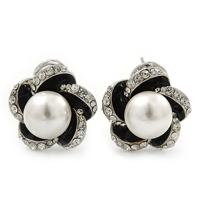 Rhodium Plated Crystal Glass Pearl 'Flower' Stud Earrings - 20mm Diameter