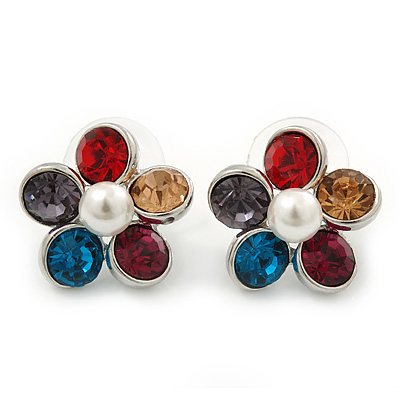 Multicoloured Crystal 'Daisy' Stud Earrings In Rhodium Plating - 20mm Diameter