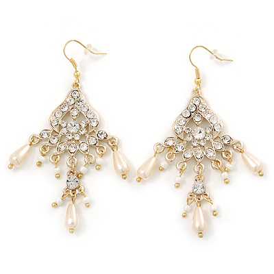 Bridal Clear Crystal, Simulated Glass Pearl Chandelier Earrings In Gold Plating - 75mm Length