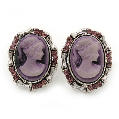 Vintage Oval Shaped Violet/ Pink Diamante Cameo Stud Earring In Silver Plating - 25mm Length