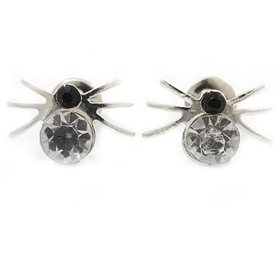Small Clear/ Black Crystal 'Spider' Stud Earrings In Silver Plating - 12mm Across