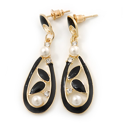 Black Enamel White Pearl Teardrop Earring In Gold Plating - 45mm Length