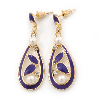 Violet Blue Enamel White Pearl Teardrop Earring In Gold Plating - 45mm Length