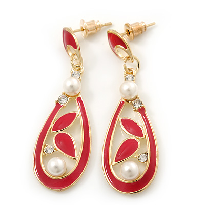 Red Enamel White Pearl Teardrop Earring In Gold Plating - 45mm Length