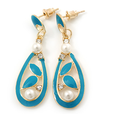 Teal Enamel White Pearl Teardrop Earring In Gold Plating - 45mm Length