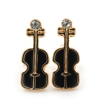 Children's/ Teen's / Kid's Small Black Enamel 'Violin' Stud Earrings In Gold Plating - 13mm Length