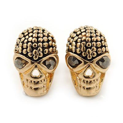 Children's/ Teen's / Kid's Small 'Skull' Stud Earrings In Gold Plating - 11mm Length