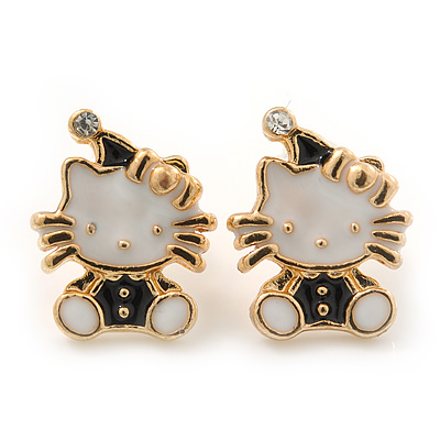 Children's/ Teen's / Kid's Small White/ Black Enamel 'Kitty in the Hat' Stud Earrings In Gold Plating - 13mm Length