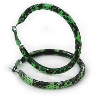 Medium Green/ Black Snake Print Hoop Earrings In Silver Tone - 55mm Diameter