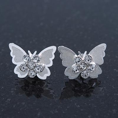 Teen Rhodium Plated Clear Crystal 'Butterfly' Stud Earrings - 15mm Width