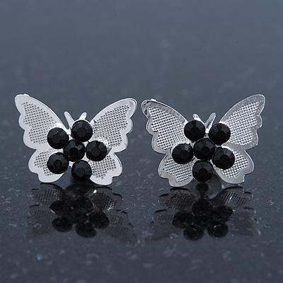 Teen Rhodium Plated Black Crystal 'Butterfly' Stud Earrings - 15mm Width - main view