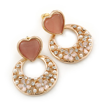 Pink Heart & Flower Diamante Hoop Earring In Gold Plating - 30mm Length