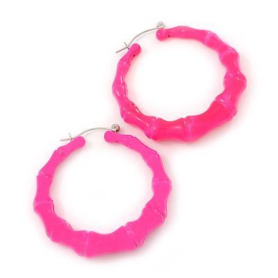 Medium Sized Bamboo Textured Doorknocker Hoop Earrings in Neon Pink - 5cm Diameter