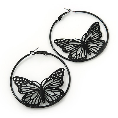 Black Filigree Butterfly Metal Hoop Earrings - 6cm Diameter
