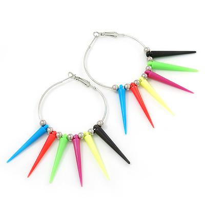 Large Multicoloured Spiky Hoop Earrings In Silver Plating - 8cm Length