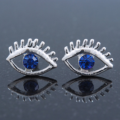 Teen Rhodium Plated 'Eyes' With Blue Crystal Stud Earrings - 14mm Width - main view