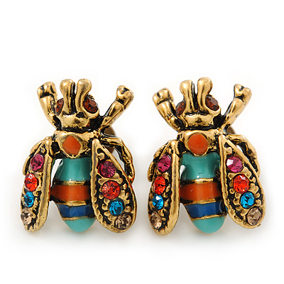Funky Multicoloured Enamel, Diamante 'Fly' Stud Earrings - 17mm Length