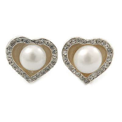 Classic Simulated Pearl Crystal Heart Stud Earrings In Silver Tone - 15mm Width